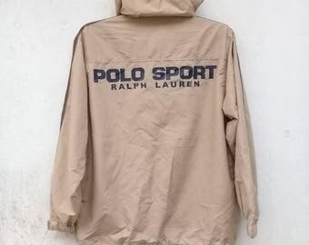POLO SPORT Ralph Lauren Sportswear Polo Sport Spell Out Windbreaker Polo Hooded Jacket Coat Size L