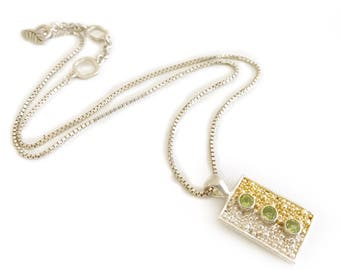 Sterling Silver Peridot Dog Tag Necklace