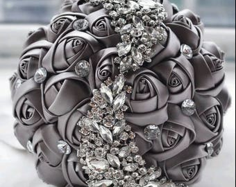 brooch wedding bouquet, silk flowers, crystal bling