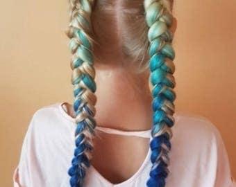 Jumbo kanekalon hair for braiding, blonde pink, blonde blue box braids braiding