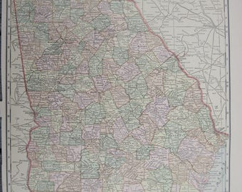 1914-Georgia Antique Map- Lovely 103 year old, vintage map of Georgia - Home Décor