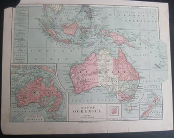 1882-Oceania/Australia, Color Antique map of Oceania/Australia by Harper's-Lovely 135 year old, vintage map of Oceania/Australia- Home Décor