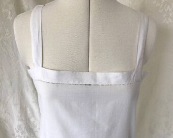 Vintage Antique late Victorian/ Edwardian 100% cotton sleeveless chemise/ under-dress. Late 19th/ early 20th Century #21