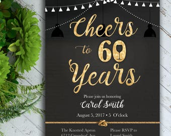 Cheers Birthday Invitation, Classy Birthday Invitation, 40th Birthday, 50th Birthday, 60th Birthday, Black and Gold Birthday Invitation
