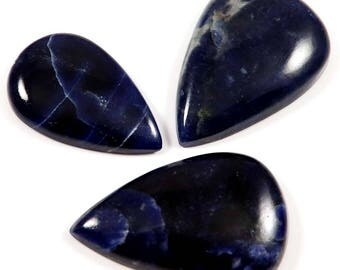 Natural Sodalite Gemstone Cabochon,  Pear Shape Loose Gemstone For Jewelry Making 90.15 Cts 3 Pcs Wholesale Lot,LAC-17