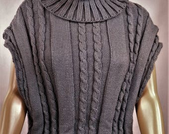 Pullover Wool Sweater, knitted sweater, cape, poncho, grey sweater pullover jumper, sleeveless Pullover Sweater winter warm jumper 0108