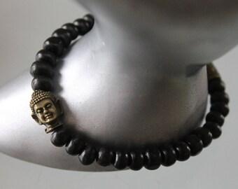 Buddha bracelet. men's bracelet. Infinity bracelet wooden Bead Bracelet noir.bracelet. Bracelet zen Buddhist bracelet. bronze charm