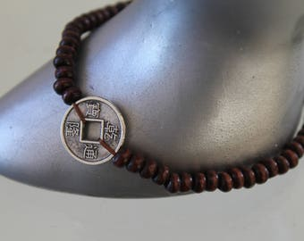 good luck charm bracelet. Chinese coin silver. charm Buddhism .bracelet .bracelet bracelet .perle Brown wooden bead. women jewelry