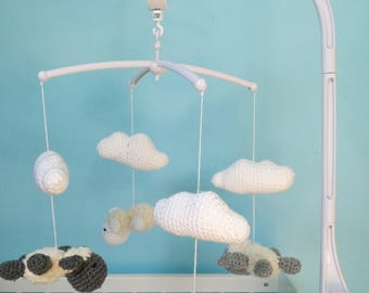 Mobile hanging little sheep and clouds in crochet