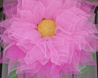 Deco Mesh Summer Flower Wreath