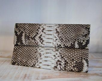 Snakeskin Bag, Python Bag, Snakeskin Leather, Snakeskin Clutch, Python Clutch,  Foldover Bag, Leather Clutch, Evening Clutch