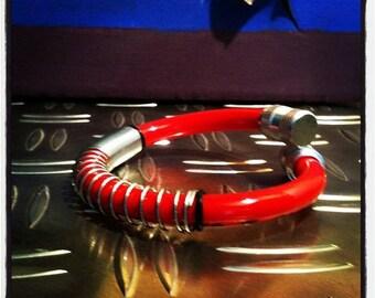 Bicycle tube valve spring bracelet