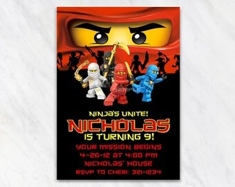 Lego Ninjago Invitation for Birthday Party - Printable Digital File