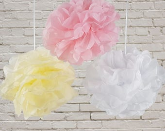 12 beautifully fluffy tissue paper pom poms for the decoration of weddings, birthdays, and celebrations