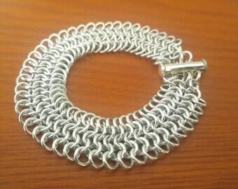 Handmade Silver Aluminum European Chainmaille Weave Bracelet