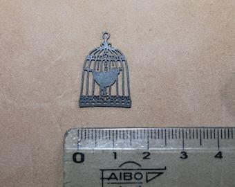 Print - Cage charm has very thin black metal (x 2) bird