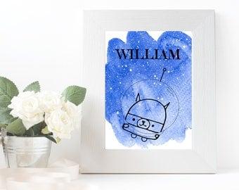 Nursery print, printable nursery watercolour poster cat/dog in space, digital download