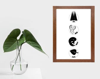 Four elements modern print