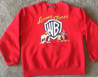 1995 Vintage Red Looney Tunes Sweatshirt Size Medium (estimated)