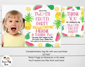 Two-tti fruity birthday invitation, Two-tii Fruitti Birthday Invitation, Fruit Party invitation, Tutti frutti birthday invitation, Printable