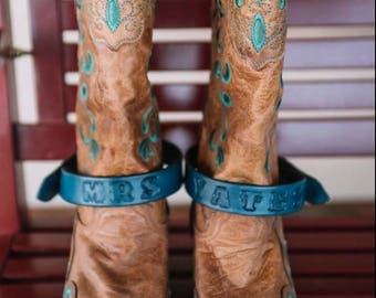 Hand-crafted, Personalized, Leather Boot Straps