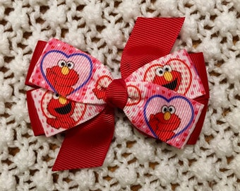 Elmo Hair Bow - Girls Hair Bow, Hair Bow for Toddler, Sesame Street Hair Bow, Elmo Hair Clip, Hair Bow, Hair Bow for Girl, Elmo Bow,  Bow