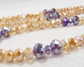 Crystal Necklace, Long Purple and Topaz Crystal Necklace, Chinese Crystal Jewelry, Handmade, Tanzanite and Topaz Crystal, Purple and Gold