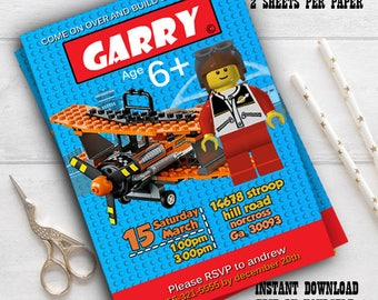 Instant Download-Digital Lego CIty invitation, Lego thank you tag, Lego city fire station, Lego fire station birthday, Lego editable pdf