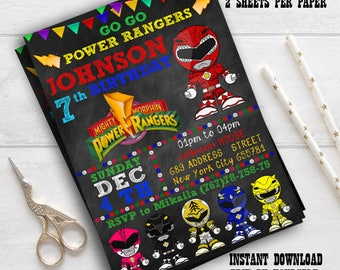 Power Rangers Dino Charge INSTANT DOWNLOAD Editable Invitation / Power Rangers Invitation / EDITABLE Power Rangers Invitation