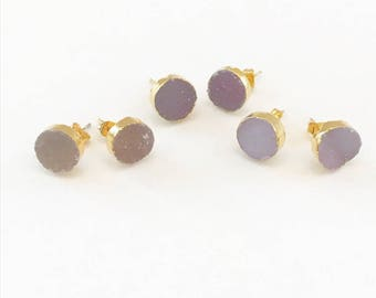 Gold Plated Round Druzy Stud Earrings