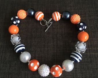 Baby/Toddler/Child Chunky Bubblegum Bead Necklace, Navy and Orange, Chicago Bears, University of Illinois