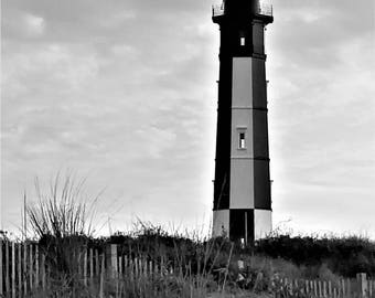 Fort Story Lighthouse, Black and White, digital download