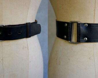 Vintage Simple Black Leather Belt