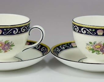 2 Wedgwood Runnymede Blue W4472 Pattern Bone China Footed Cups & Saucers Lot D