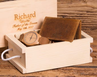 Personalized Watch and Wallet, Groomsmen, Father of the Bride, Usher, Christmas, Gifts for Him, Grandfather, Watch Box, Fathers Day MW1&ZB32