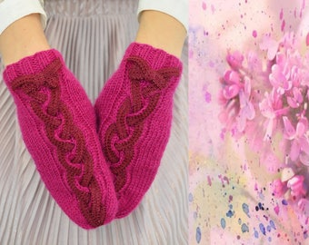 Woman cherry mittens cable mittens embellished lace mittens hand knit braid adult winter mittens ladies knit arm warmer cozy wool gift woman