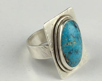 Turquoise Cabochon Sterling Sliver Ring Size 7