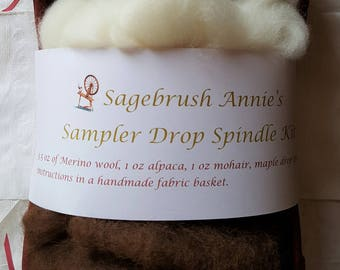 Sampler Drop Spindle Kit with Merino Wool, Alpaca and Mohair