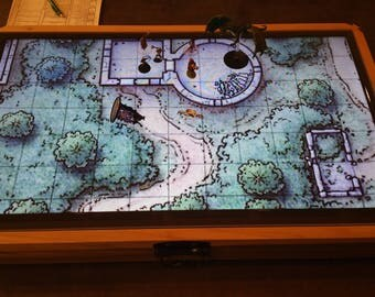 "32"" Digital Map Case / Battle Mat for Dungeons & Dragons, Pathfinder and other Tabletop RPGs (with Fog of War) Optional Lichtenberg Figures"