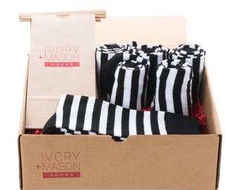 Groomsmen Socks Set - Black and White Striped Socks - Men's Wedding Socks - Groomsmen Gift - Wedding Party - 6 Pairs