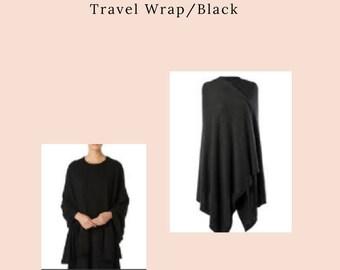 Pure Cashmere Travel Wrap/Black