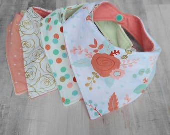 Baby Girl Gift Set - Baby Girl Bibs - Bandana Bibs - Baby Bibs - Baby Shower Gift - Baby Girl - Drool Bibs - Bibdana - Coral, Mint, and Gold