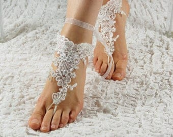 Barefoot sandals,lace foot jewelry, lace sandals, beach wedding barefoot, wedding bangles, anklets, beach bride