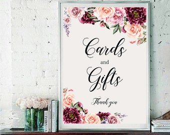 Cards and Gifts Wedding Sign Digital Floral Vintage Burgundy Pink Wedding Boho Printable Bridal Decor Poster Sign 5x7 and 8x10 - WS-030
