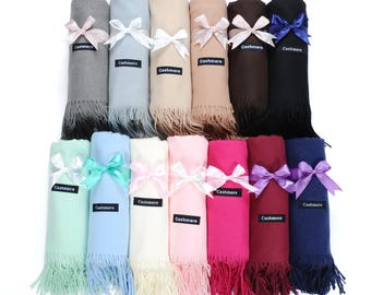 Perfect Ladies Christmas Gift-Cashmere Pashmina Scarfs Monogrammed- Beautiful Cashmere Scarfs in 13 colors