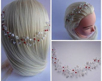 Bridal headpiece with pearl beads and Swarovski crystals/Bridal pearl tiara/Wedding hair vine/Pearl hair vine/15 colours available