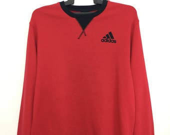 Sale!! ADIDAS Sweatshirt Red Color Crew Neck Jumper Pullover Large Size