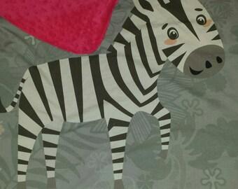 Zebra blanket minky blanket and cotton baby blanket