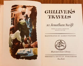 Gulliver's Travels, Jonathan Swift, VIntage Book, Children's Book, Book for Decor