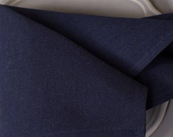 10pcs LINEN CLOTH NAPKINS - made in Europe - dark Blue Navy color - Various Sizes